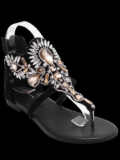 Artificial Jewel Black Flat Heel Sandals