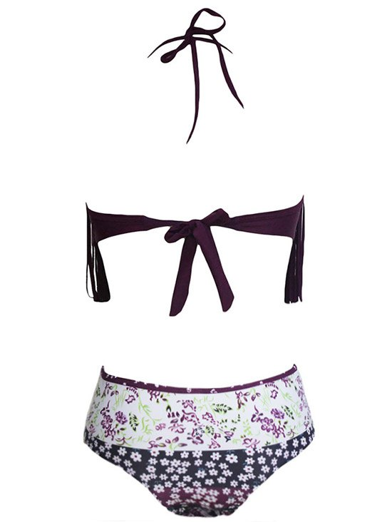 Tassels Spliced Halter Printed High Waisted Bikini Set - DEEP PURPLE XL