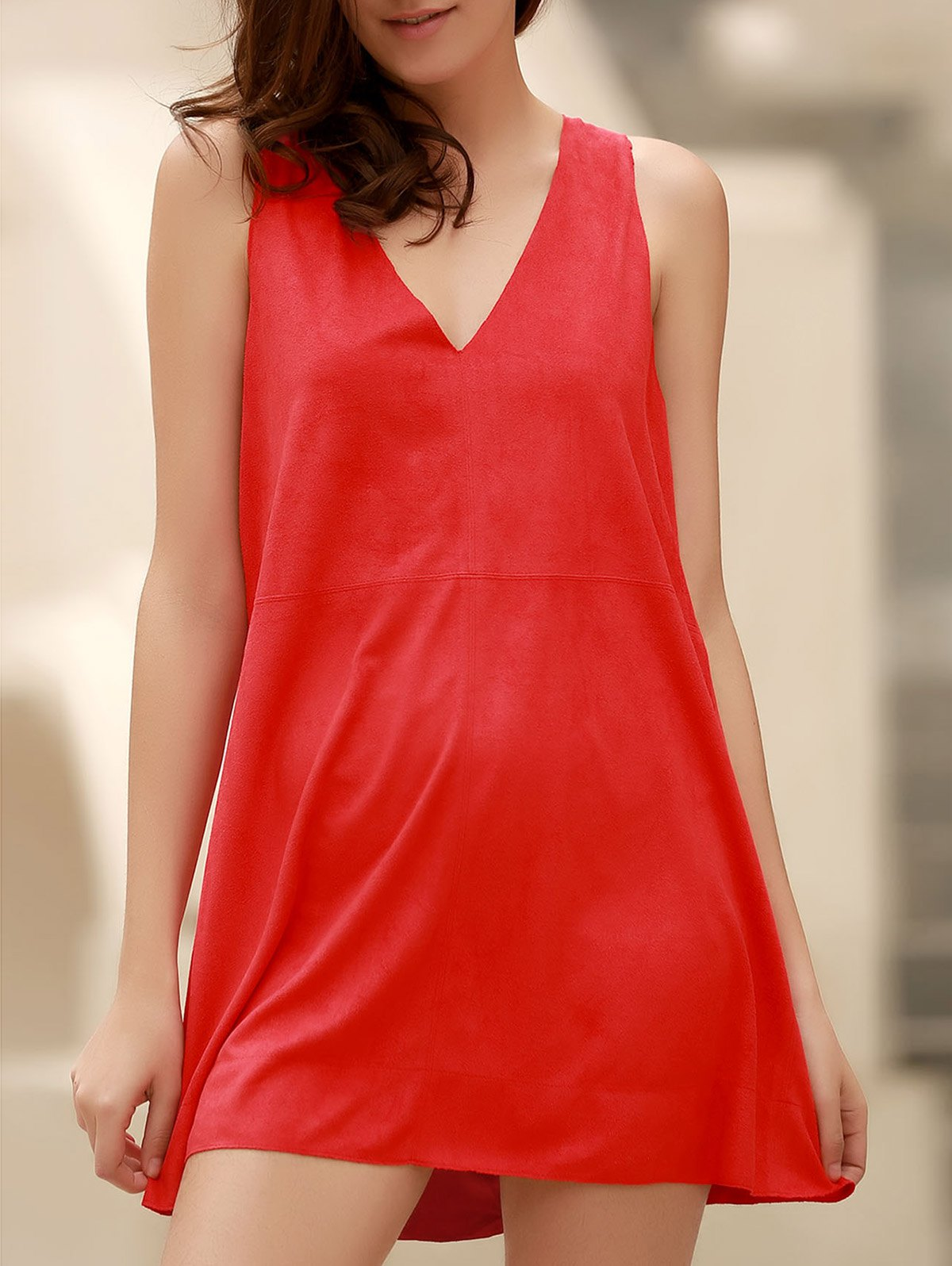 Red Faux Suede Plunging Neck Sleeveless Dress 171792902