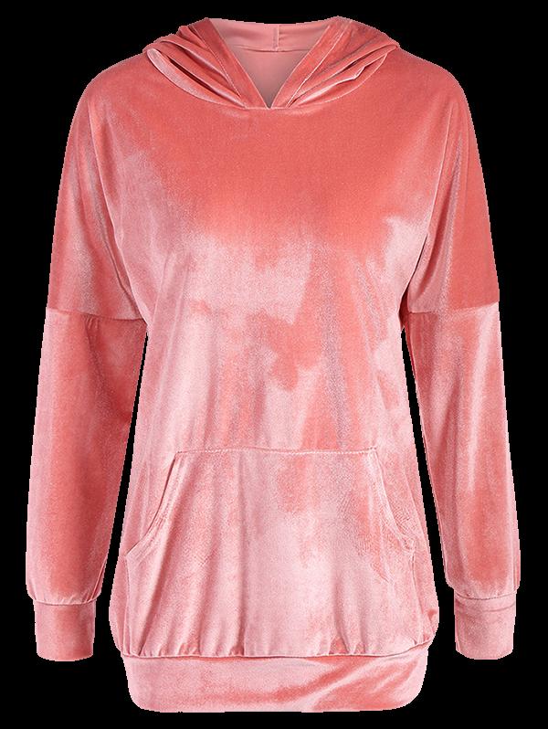 Hooded Long Sleeve Velvet Casual Dress 203112405