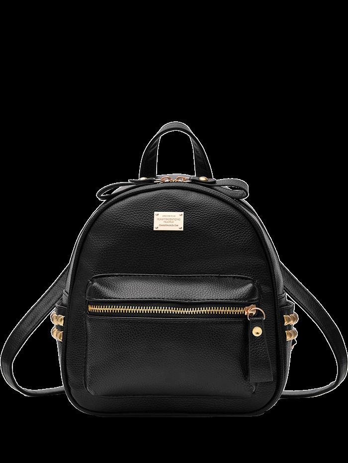Metal Rivets Zippers PU Leather Backpack