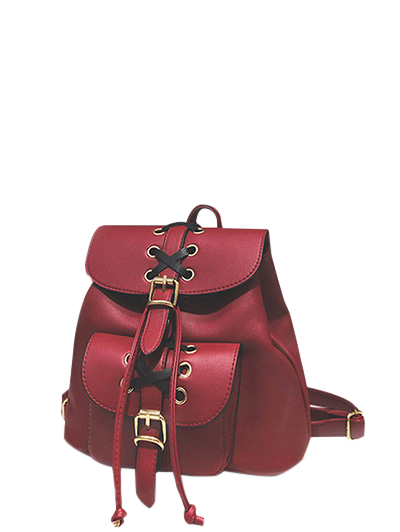Buckles Eyelet Criss Cross PU Leather Backpack