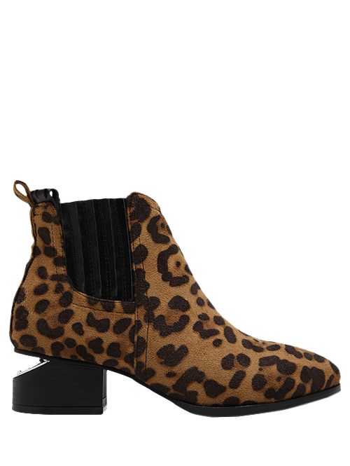 Leopard Print Splicing Stitching Ankle Boots