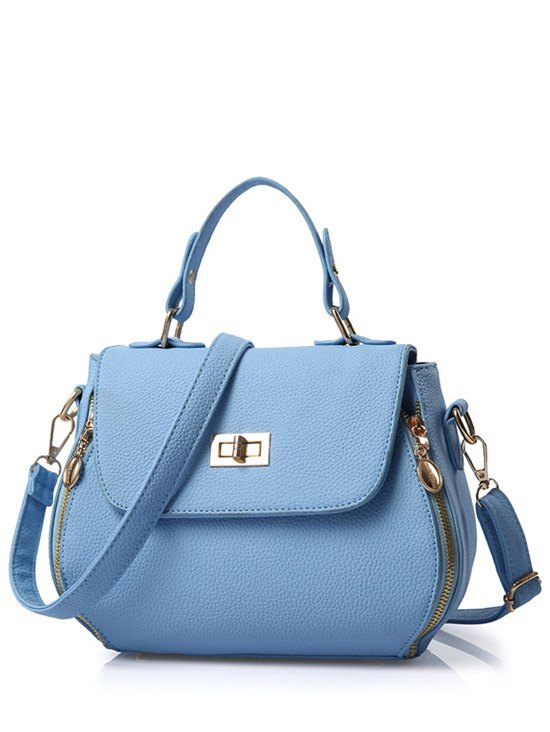 Hasp Solid Color PU Leather Tote Bag - LIGHT BLUE