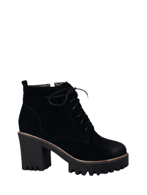 Tie Up Chunky Heel Zip Ankle Boots BLACK: Boots | ZAFUL