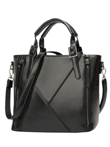 Buckles PU Leather Zippers Tote Bag - Black