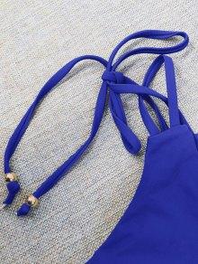 Plunge Bikini Top and Thong Bikini Bottoms - BLUE S