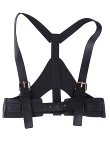 Faux Leather Belt Suspenders