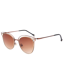 Double Rims Cat Eye Sunglasses - Tea-colored