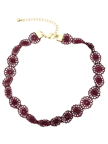 Lace Hollow Out Floral Necklace - Wine Red