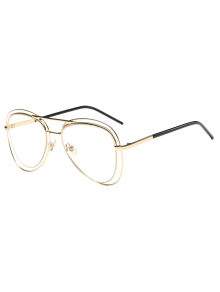 Double Rims Transparent Lens Pilot Sunglasses
