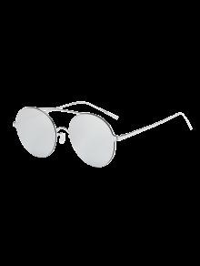 Buy Crossbar Metal Round Mirrored Sunglasses - SILVER