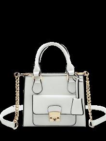 PU Leather Metal Tote Bag - White
