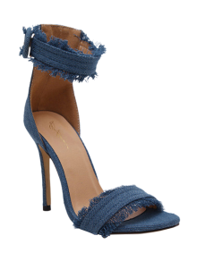 Denim Ankle Strap Stiletto Heel Sandals