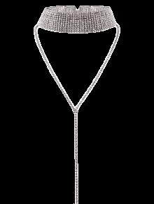 Wide Rhinestone Choker - Silver
