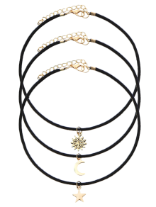 Velvet Sun Moon Star Chokers - Black