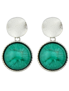 Circle Faux Gem Sequin Earrings - Silver