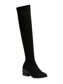 Flock Chunky Heel Thigh Boots - Black