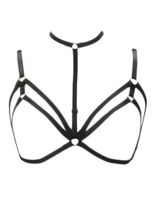 Bra Bondage Harness Layered Body Jewelry - Black