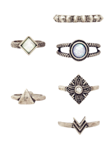 6 PCS Tribal Geometry Retro Rings