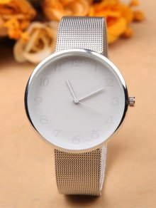 Alloy Circle Dial Plate Quartz Watch - White