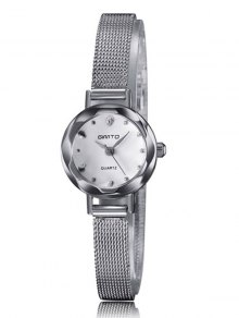 Alloy Band Embellished Quartz Watch