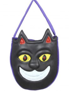 Mask Pattern Color Block Halloween Bag - Black