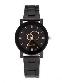 Circle Casual Steel Band Quartz Watch - Black