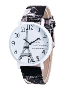 Eiffel Tower PU Leather Quartz Watch