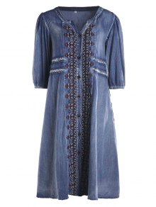 Drawstring Tribal Button Up Denim Dress - Azul