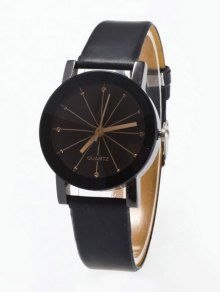 Rhinestone Geometric Faux Leather Quartz Watch