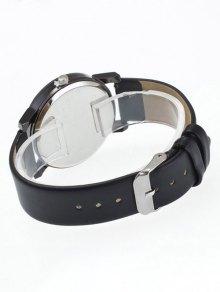 Rhinestone Geometric Faux Leather Quartz Watch - BLACK