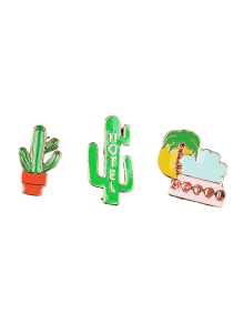 Cactus Hotel Coconut Tree Brooch Set