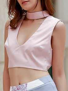 Pure Color Plunging Neck Sleeveless Crop Top