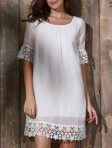 Lace Splice Scoop Neck Half Sleeve Dress
