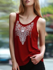 Cut Out Totem Print Jewel Neck Sleeveless Tank Top