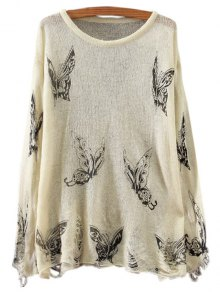 Butterfly Print Long Sleeve Jumper