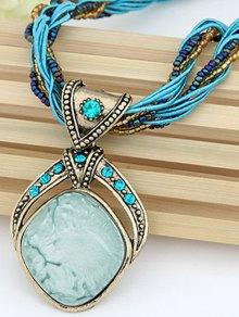 Faux Gem Multilayered Retro Style Necklace - LAKE BLUE