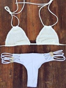 Crochet White Halter Bikini Set