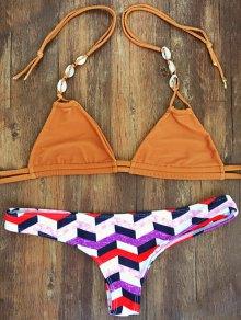 Geometric Pattern Halterneck Bikini Set