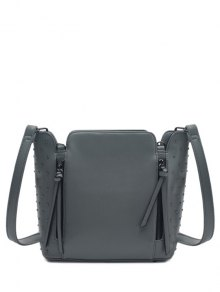 Rivets Zips Solid Color Shoulder Bag - Gray
