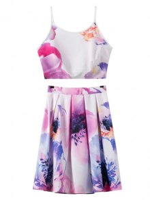 Floral Print Cami Crop Top And A-Line Skirt Suit - Red