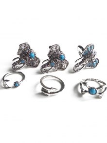Faux Turquoise Elephant Head Ethnic Style Rings