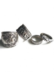 Elephant Head Cameo Ethnic Style Rings