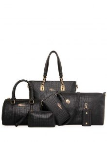 Metal Letter Crocodile Print Shoulder Bag - Black
