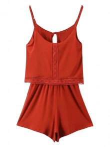 Lace Band Collarless Braces Playsuit