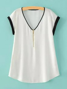 Zipper V-Neck Short Sleeve T-Shirt