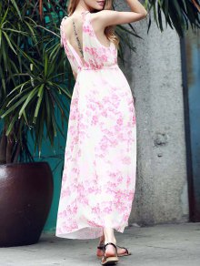 Low Back Flower Print Flowing Dress - Pink S