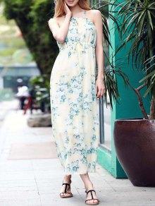 Low Back Flower Print Flowing Dress