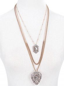 Diamantes De Imitación Collar De Varias Capas Colgante Gótico - Dorado